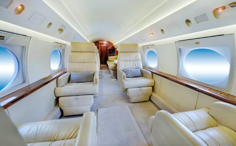 JetCity private jet charter. Luxury Gulfstream IV forward cabin