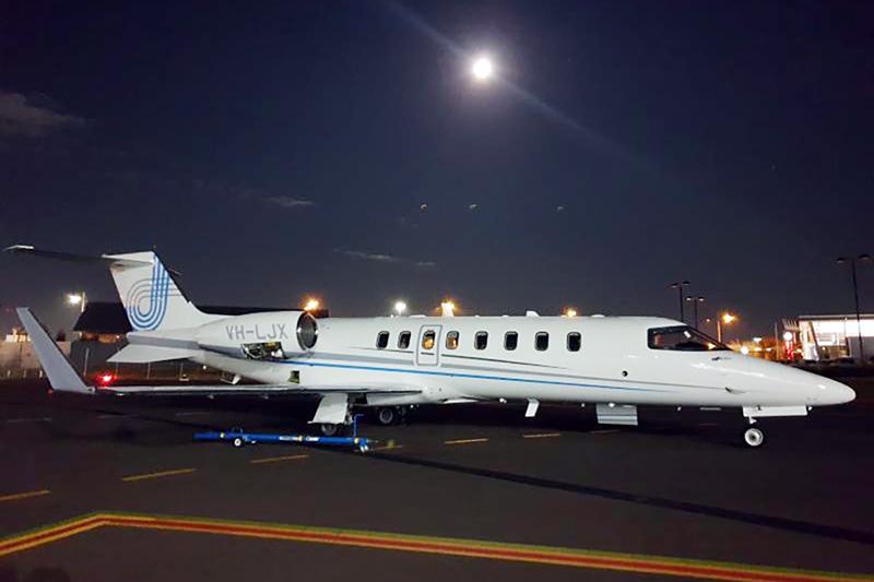 JetCity, aeromedical, plane on tarmac at night